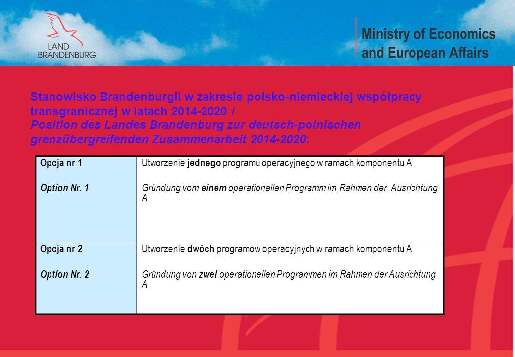 Opcja nr 1 Option Nr. 1 Utworzenie jednego programu operacyjnego w ramach komponentu A Gründung vom einem operationellen Programm im Rahmen der Ausric