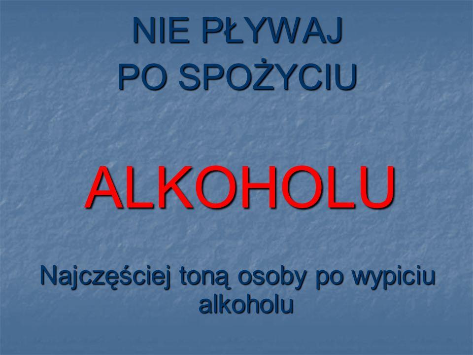 NIE PŁYWAJ PO SPOŻYCIU ALKOHOLU ALKOHOLU Najczęściej toną osoby po wypiciu alkoholu
