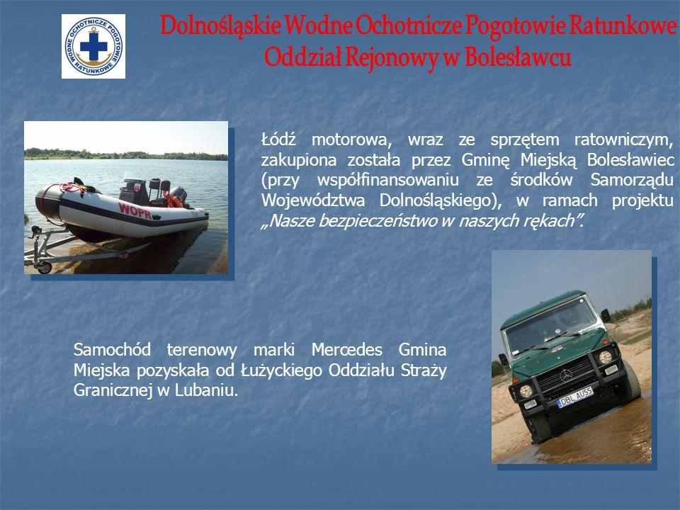 Łódź motorowa, wraz ze sprzętem ratowniczym, zakupiona została przez Gminę Miejską Bolesławiec (przy współfinansowaniu ze środków Samorządu Województw