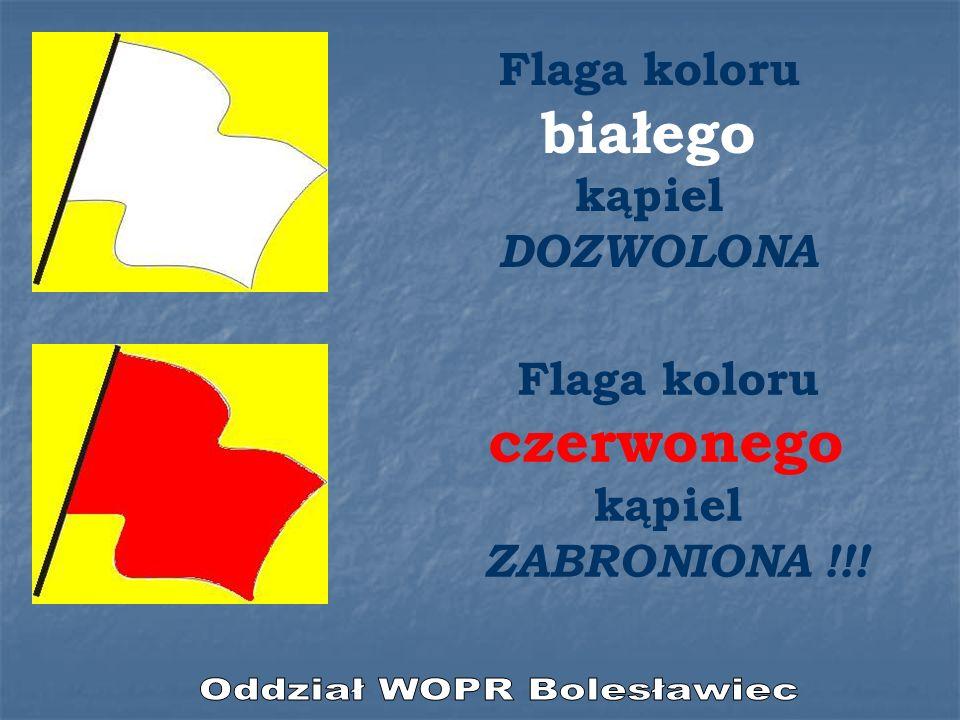 Flaga koloru białego kąpiel DOZWOLONA Flaga koloru czerwonego kąpiel ZABRONIONA !!!