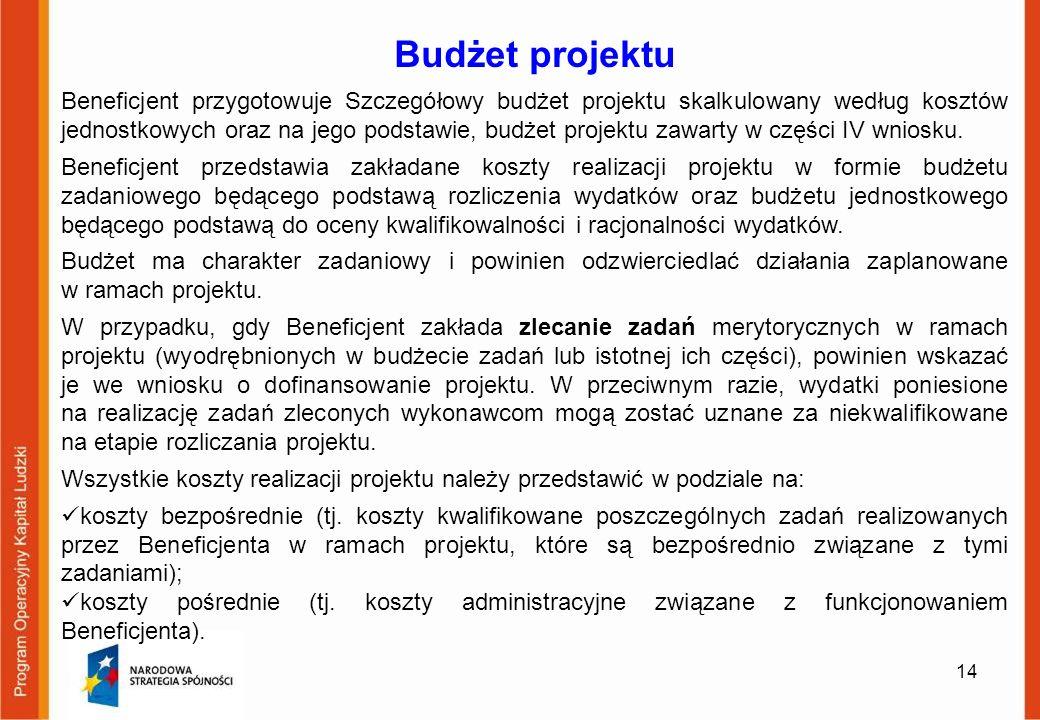 14 Budżet projektu Beneficjent przygotowuje Szczegółowy budżet projektu skalkulowany według kosztów jednostkowych oraz na jego podstawie, budżet proje