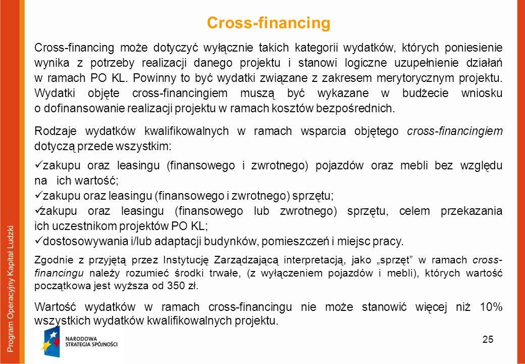 25 Cross-financing Cross-financing może dotyczyć wyłącznie takich kategorii wydatków, których poniesienie wynika z potrzeby realizacji danego projektu