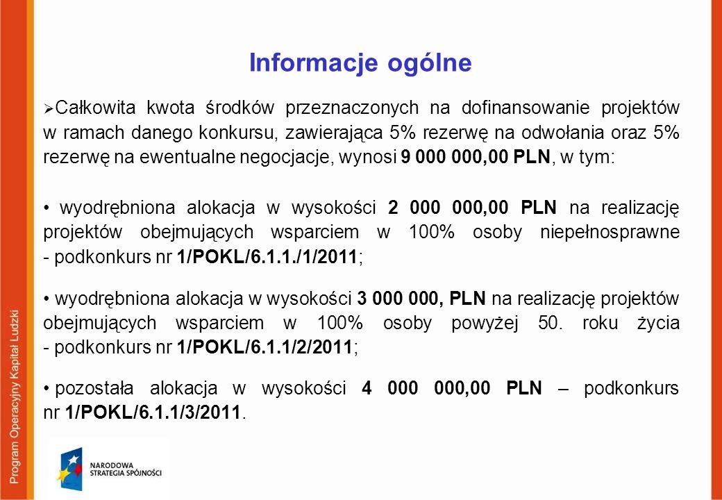 Informacje ogólne Całkowita kwota środków przeznaczonych na dofinansowanie projektów w ramach danego konkursu, zawierająca 5% rezerwę na odwołania ora