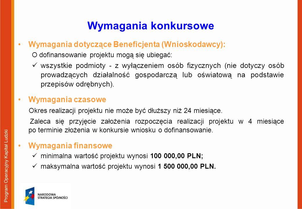 Wymagania konkursowe Wymagania dotyczące Beneficjenta (Wnioskodawcy): O dofinansowanie projektu mogą się ubiegać: wszystkie podmioty - z wyłączeniem o