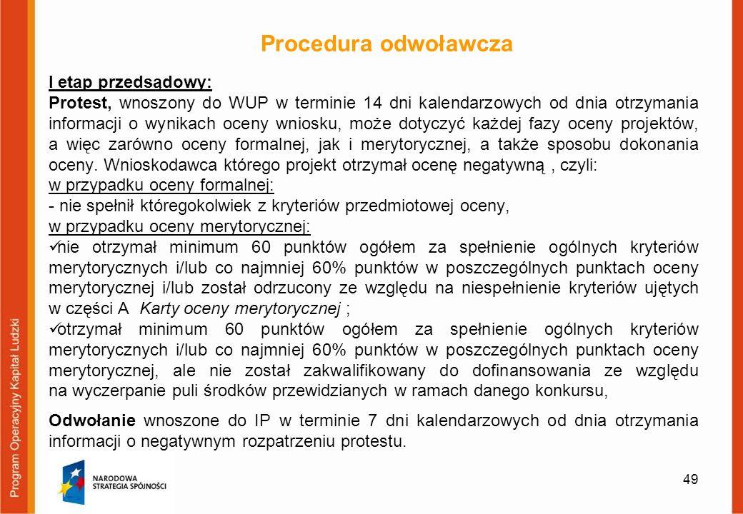 Procedura odwoławcza I etap przedsądowy: Protest, wnoszony do WUP w terminie 14 dni kalendarzowych od dnia otrzymania informacji o wynikach oceny wnio