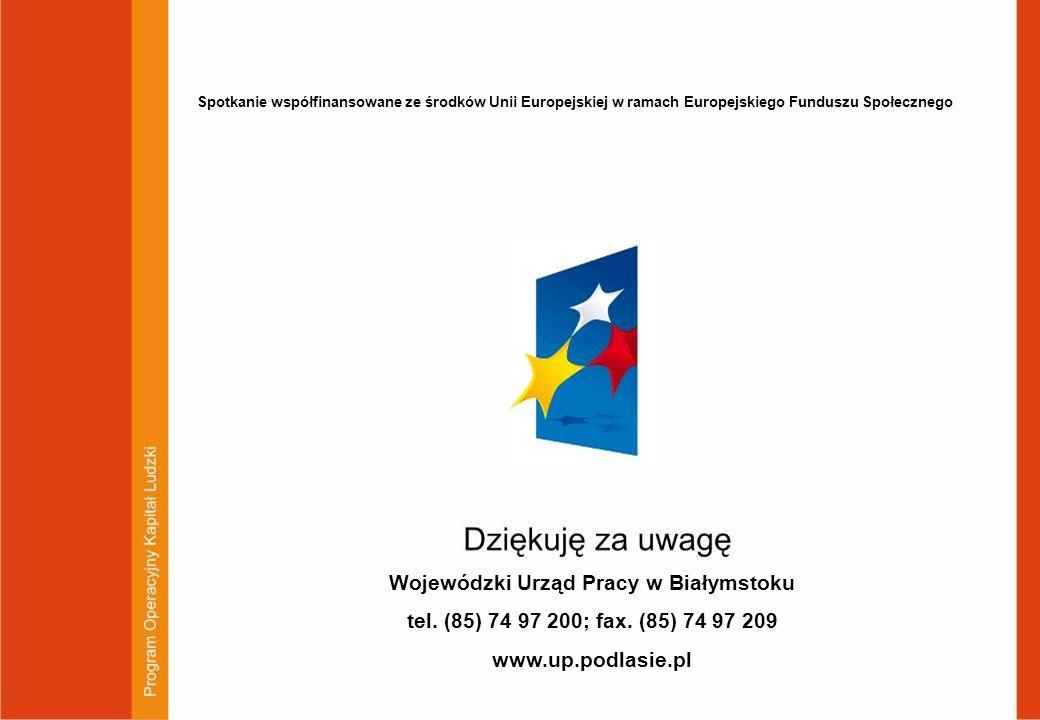 51 Wojewódzki Urząd Pracy w Białymstoku tel. (85) 74 97 200; fax. (85) 74 97 209 www.up.podlasie.pl Spotkanie współfinansowane ze środków Unii Europej