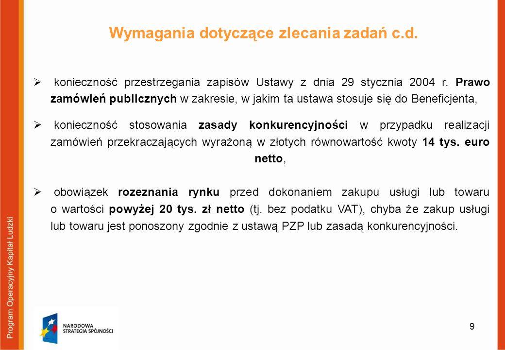 9 Wymagania dotyczące zlecania zadań c.d. konieczność przestrzegania zapisów Ustawy z dnia 29 stycznia 2004 r. Prawo zamówień publicznych w zakresie,