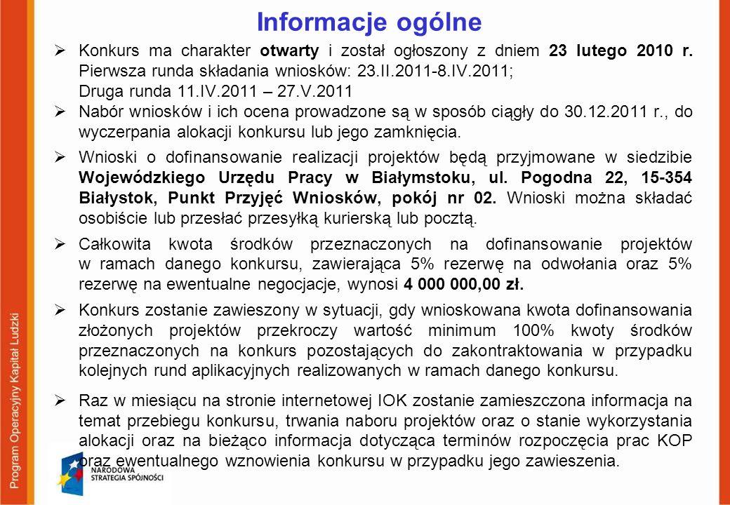 Informacje ogólne Konkurs ma charakter otwarty i został ogłoszony z dniem 23 lutego 2010 r. Pierwsza runda składania wniosków: 23.II.2011-8.IV.2011; D