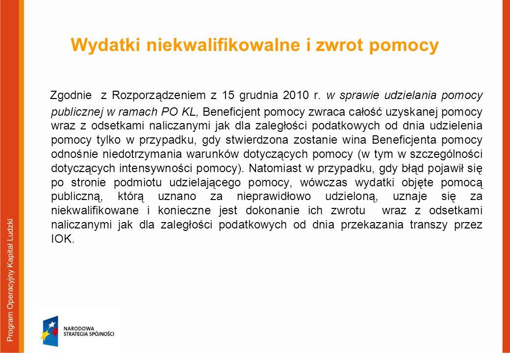 Wydatki niekwalifikowalne i zwrot pomocy Zgodnie z Rozporządzeniem z 15 grudnia 2010 r. w sprawie udzielania pomocy publicznej w ramach PO KL, Benefic