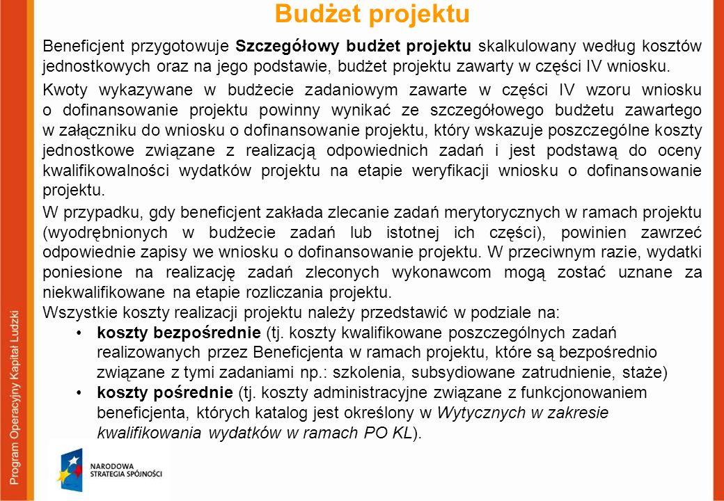 Budżet projektu Beneficjent przygotowuje Szczegółowy budżet projektu skalkulowany według kosztów jednostkowych oraz na jego podstawie, budżet projektu