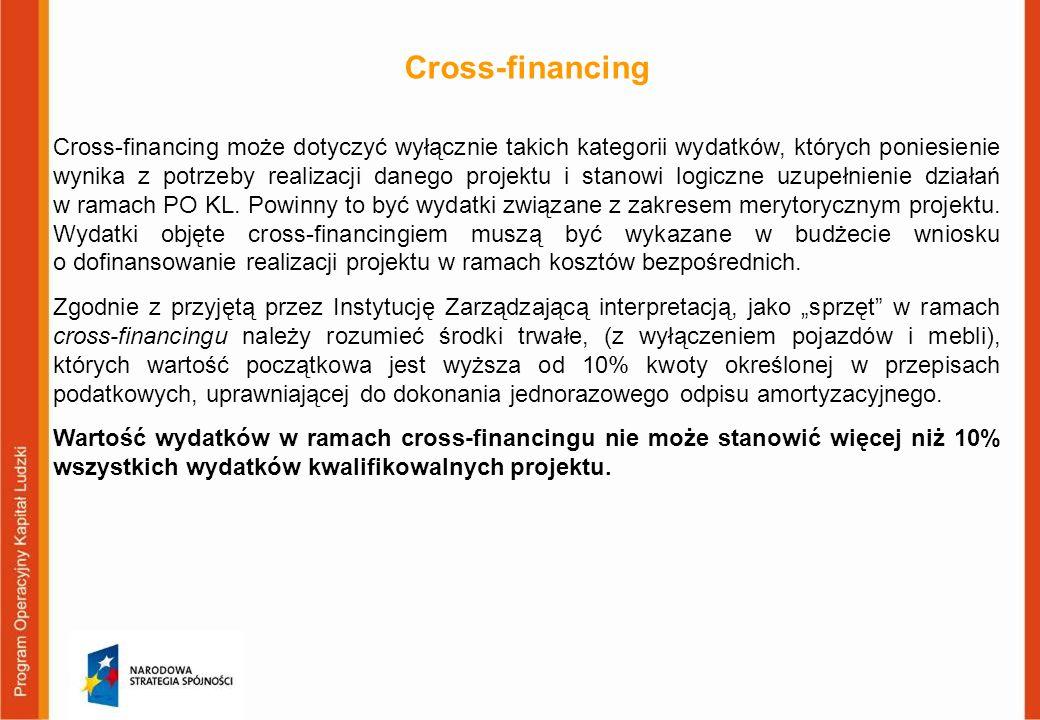 Cross-financing Cross-financing może dotyczyć wyłącznie takich kategorii wydatków, których poniesienie wynika z potrzeby realizacji danego projektu i