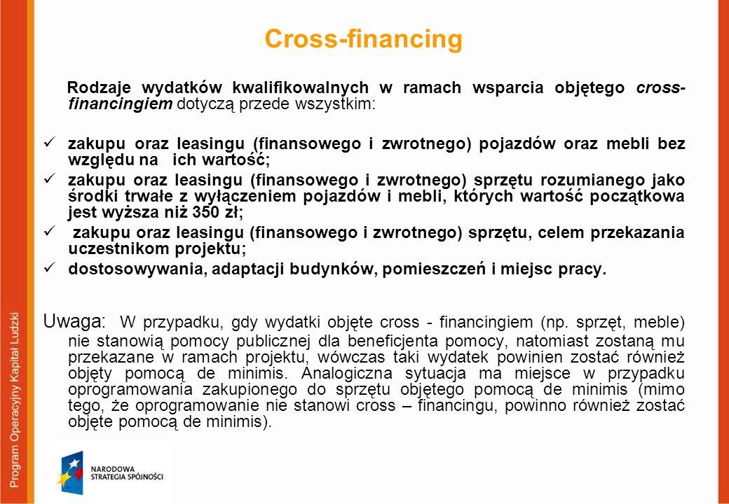 Cross-financing Rodzaje wydatków kwalifikowalnych w ramach wsparcia objętego cross- financingiem dotyczą przede wszystkim: zakupu oraz leasingu (finan
