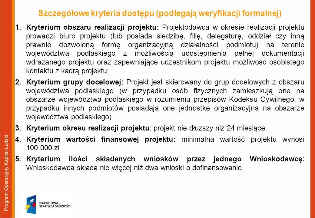 Szczegółowe kryteria dostępu (podlegają weryfikacji formalnej) 1.Kryterium obszaru realizacji projektu: Projektodawca w okresie realizacji projektu pr