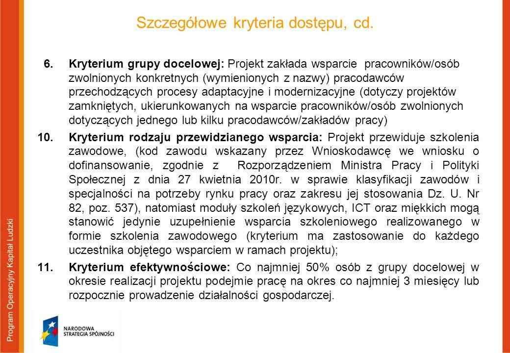 Szczegółowe kryteria dostępu, cd. 6. Kryterium grupy docelowej: Projekt zakłada wsparcie pracowników/osób zwolnionych konkretnych (wymienionych z nazw