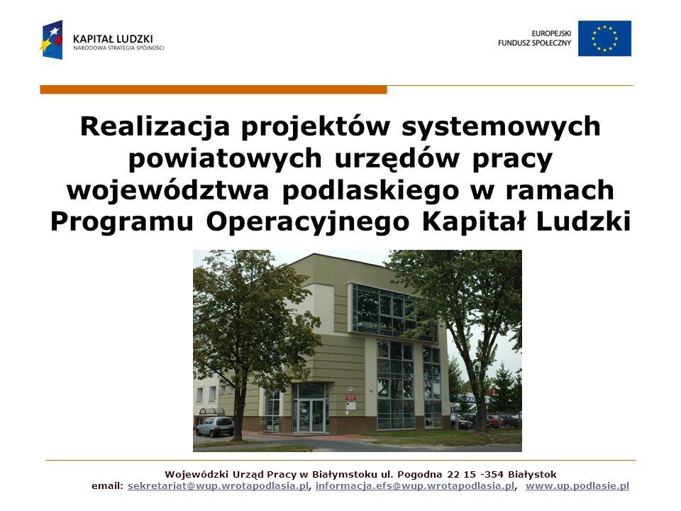 Wojewódzki Urząd Pracy w Białymstoku ul. Pogodna 22 15 -354 Białystok email: sekretariat@wup.wrotapodlasia.pl, informacja.efs@wup.wrotapodlasia.pl, ww