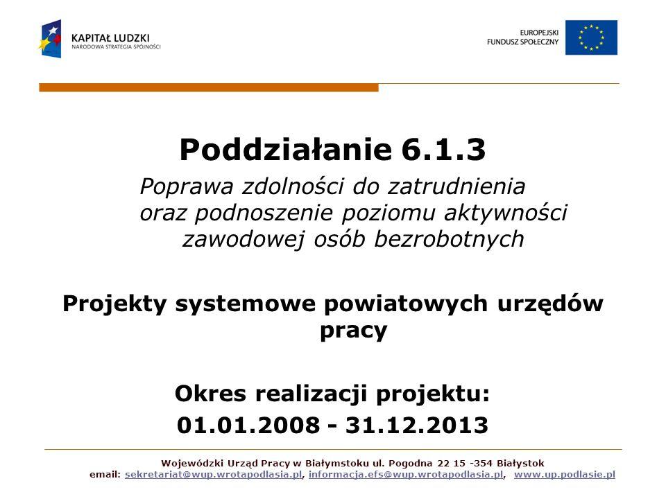 Poddziałanie 6.1.3 Poprawa zdolności do zatrudnienia oraz podnoszenie poziomu aktywności zawodowej osób bezrobotnych Projekty systemowe powiatowych ur