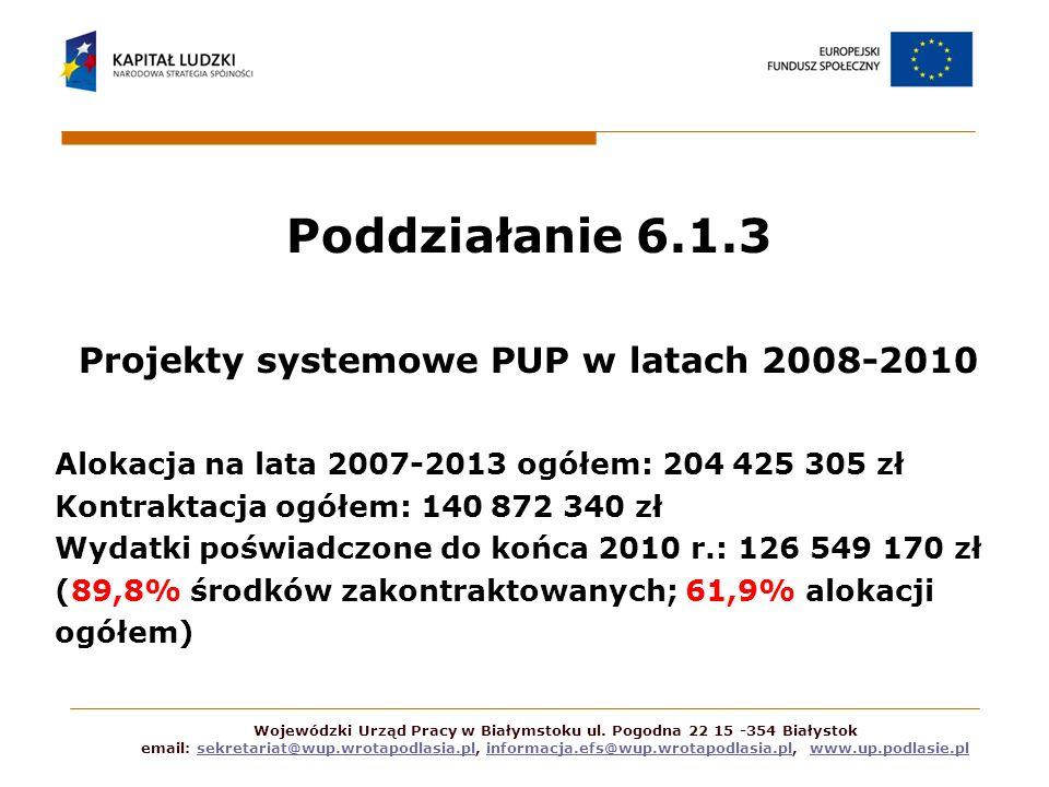 Poddziałanie 6.1.3 Projekty systemowe PUP w latach 2008-2010 Alokacja na lata 2007-2013 ogółem: 204 425 305 zł Kontraktacja ogółem: 140 872 340 zł Wyd