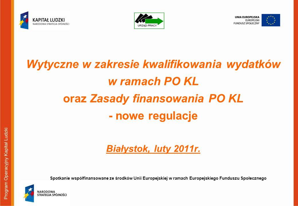 Wytyczne w zakresie kwalifikowania wydatków w ramach PO KL oraz Zasady finansowania PO KL - nowe regulacje Białystok, luty 2011r. Spotkanie współfinan