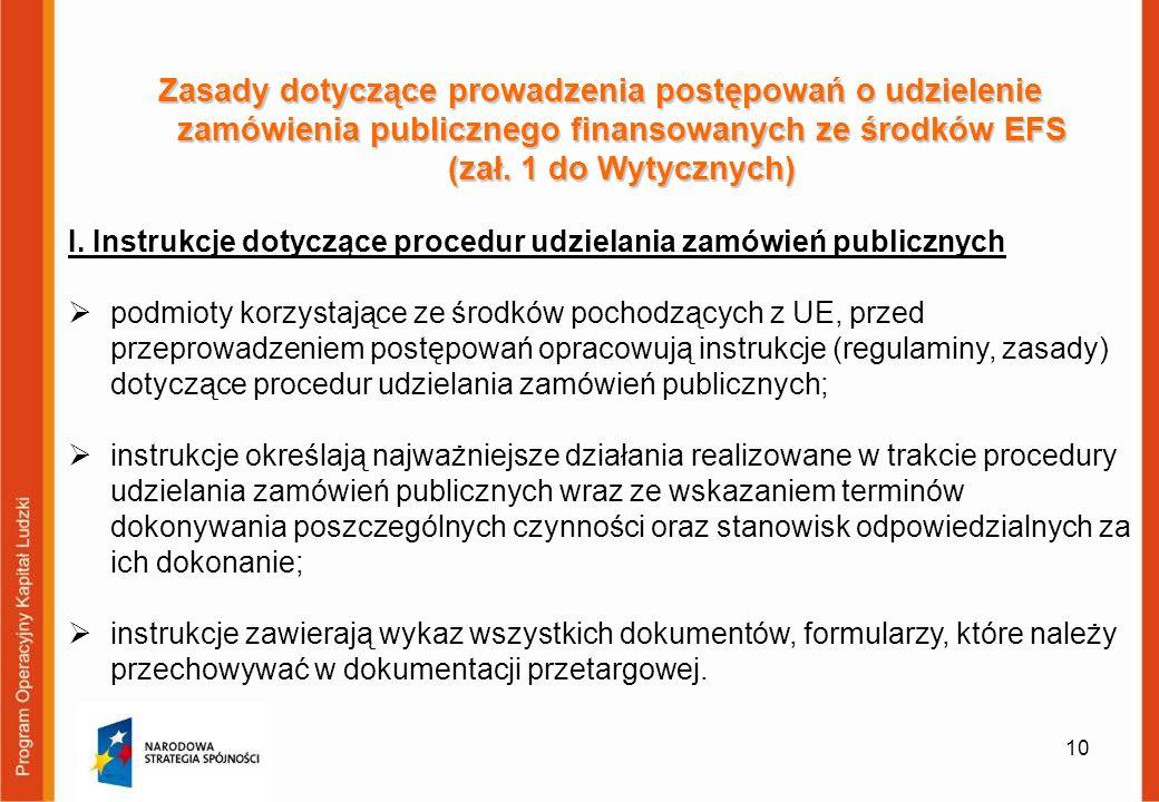 10 Zasady dotyczące prowadzenia postępowań o udzielenie zamówienia publicznego finansowanych ze środków EFS (zał. 1 do Wytycznych) I. Instrukcje dotyc