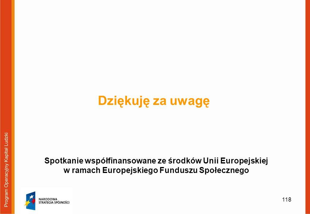 118 Dziękuję za uwagę Spotkanie współfinansowane ze środków Unii Europejskiej w ramach Europejskiego Funduszu Społecznego
