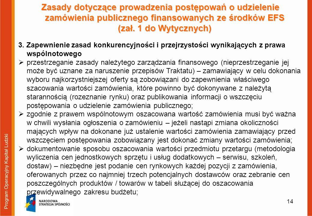 14 Zasady dotyczące prowadzenia postępowań o udzielenie zamówienia publicznego finansowanych ze środków EFS (zał. 1 do Wytycznych) 3. Zapewnienie zasa