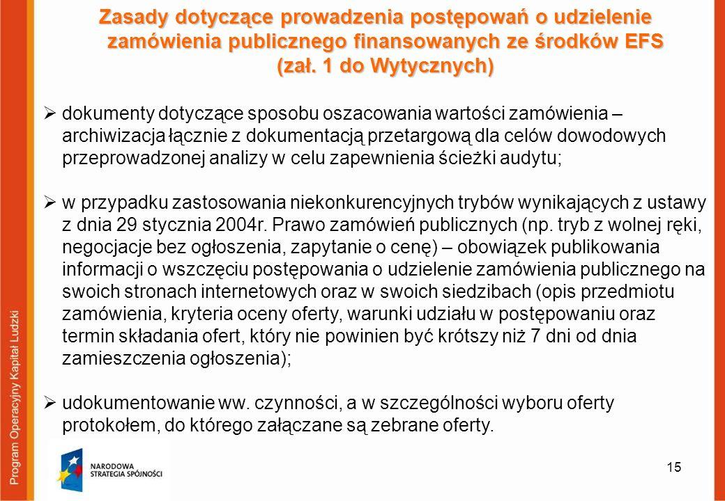 15 Zasady dotyczące prowadzenia postępowań o udzielenie zamówienia publicznego finansowanych ze środków EFS (zał. 1 do Wytycznych) dokumenty dotyczące