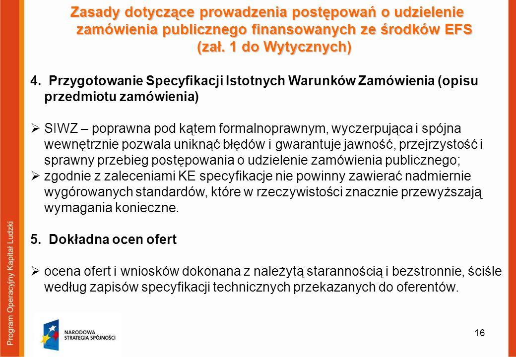 16 Zasady dotyczące prowadzenia postępowań o udzielenie zamówienia publicznego finansowanych ze środków EFS (zał. 1 do Wytycznych) 4. Przygotowanie Sp
