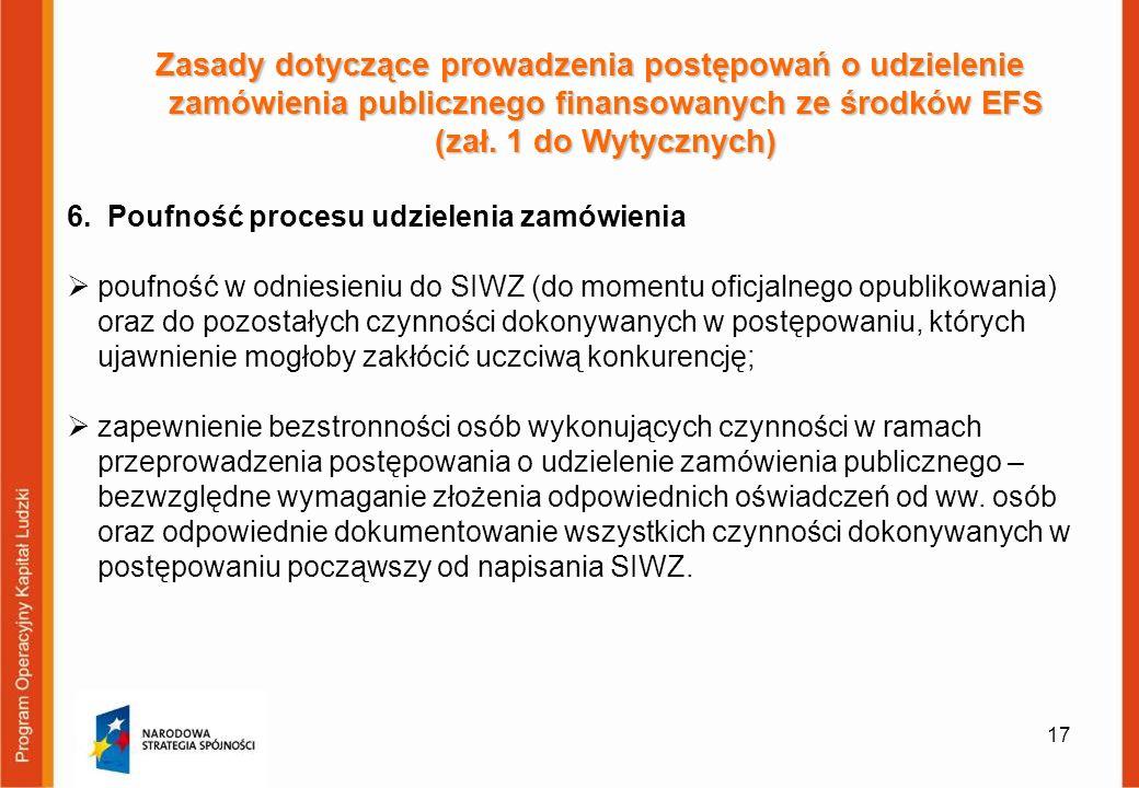 17 Zasady dotyczące prowadzenia postępowań o udzielenie zamówienia publicznego finansowanych ze środków EFS (zał. 1 do Wytycznych) 6. Poufność procesu