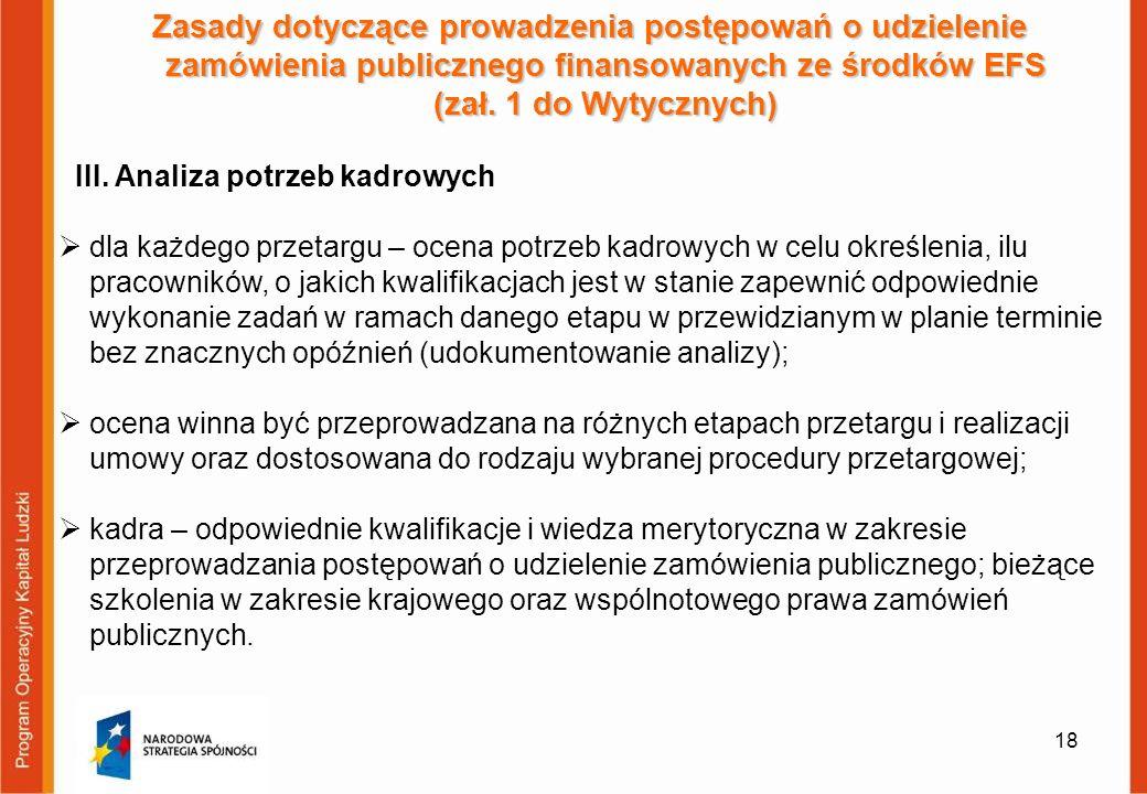 18 Zasady dotyczące prowadzenia postępowań o udzielenie zamówienia publicznego finansowanych ze środków EFS (zał. 1 do Wytycznych) III. Analiza potrze