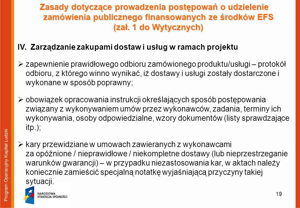 19 Zasady dotyczące prowadzenia postępowań o udzielenie zamówienia publicznego finansowanych ze środków EFS (zał. 1 do Wytycznych) IV. Zarządzanie zak