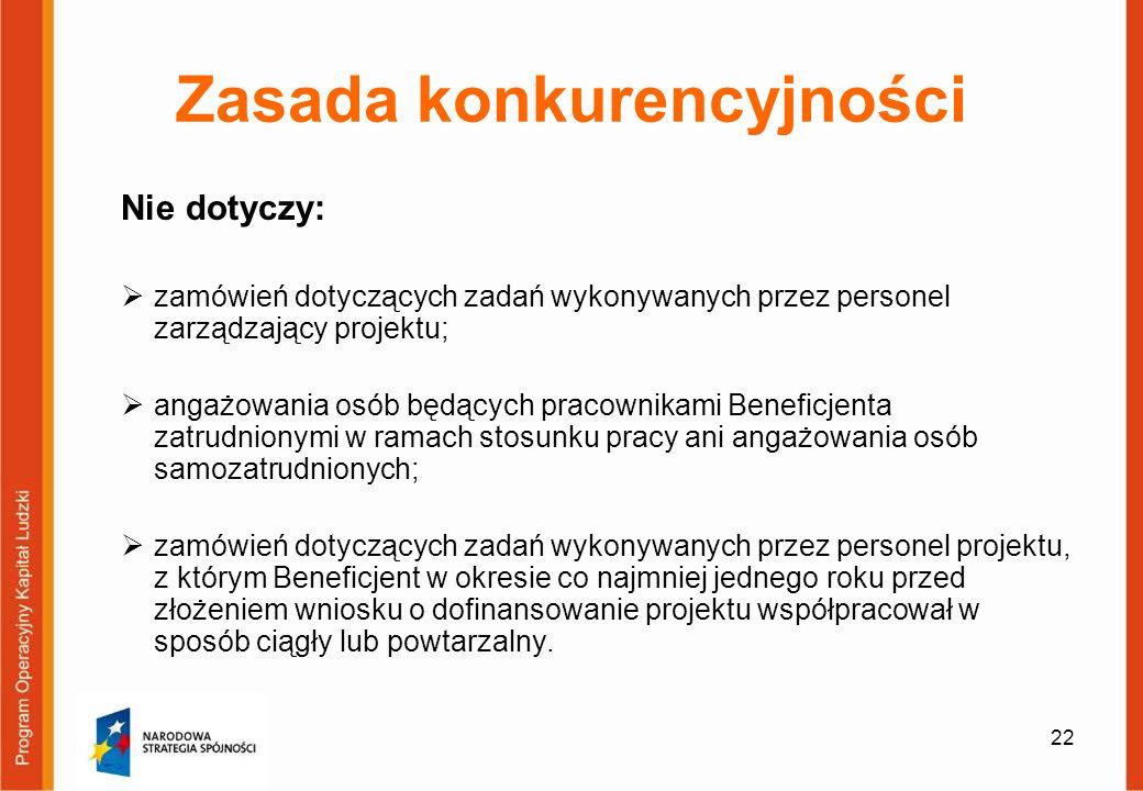 22 Zasada konkurencyjności Nie dotyczy: zamówień dotyczących zadań wykonywanych przez personel zarządzający projektu; angażowania osób będących pracow