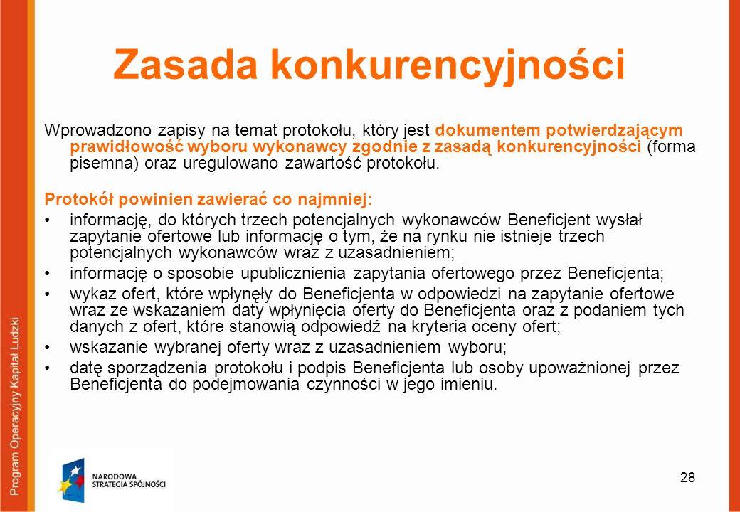 28 Zasada konkurencyjności Wprowadzono zapisy na temat protokołu, który jest dokumentem potwierdzającym prawidłowość wyboru wykonawcy zgodnie z zasadą