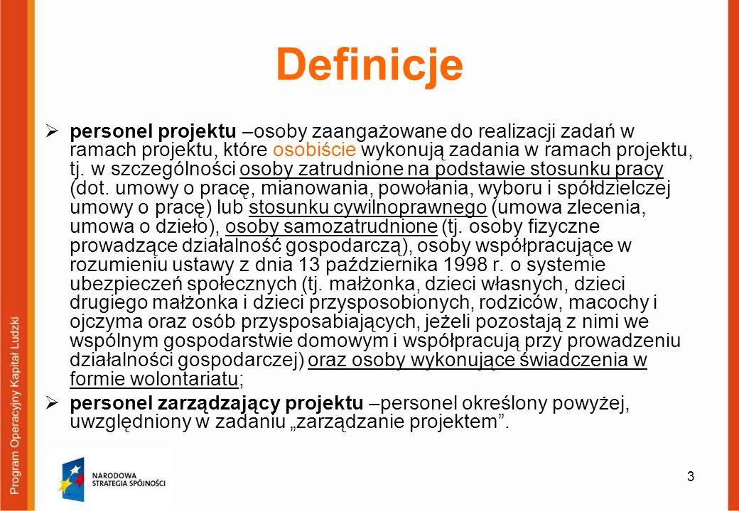 3 Definicje personel projektu –osoby zaangażowane do realizacji zadań w ramach projektu, które osobiście wykonują zadania w ramach projektu, tj. w szc