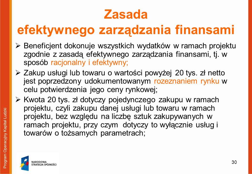 30 Zasada efektywnego zarządzania finansami Beneficjent dokonuje wszystkich wydatków w ramach projektu zgodnie z zasadą efektywnego zarządzania finans