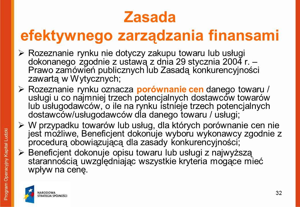 32 Zasada efektywnego zarządzania finansami Rozeznanie rynku nie dotyczy zakupu towaru lub usługi dokonanego zgodnie z ustawą z dnia 29 stycznia 2004