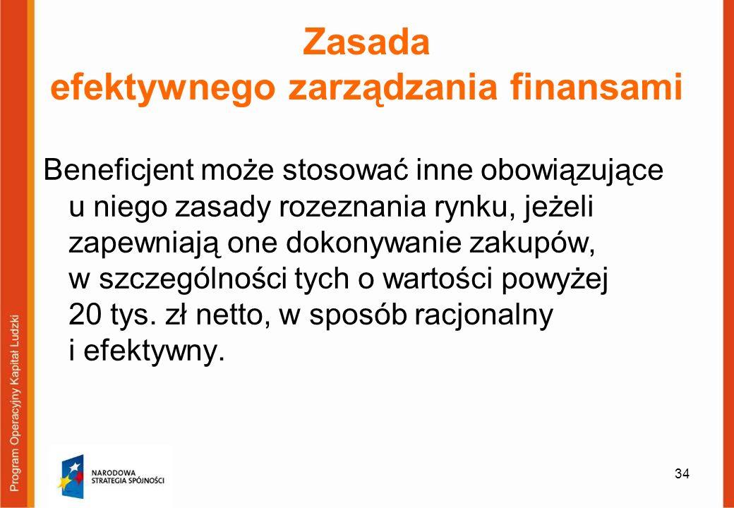 34 Zasada efektywnego zarządzania finansami Beneficjent może stosować inne obowiązujące u niego zasady rozeznania rynku, jeżeli zapewniają one dokonyw