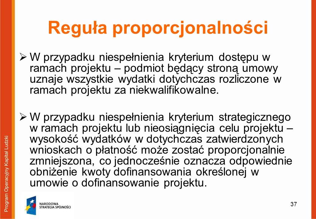37 Reguła proporcjonalności W przypadku niespełnienia kryterium dostępu w ramach projektu – podmiot będący stroną umowy uznaje wszystkie wydatki dotyc