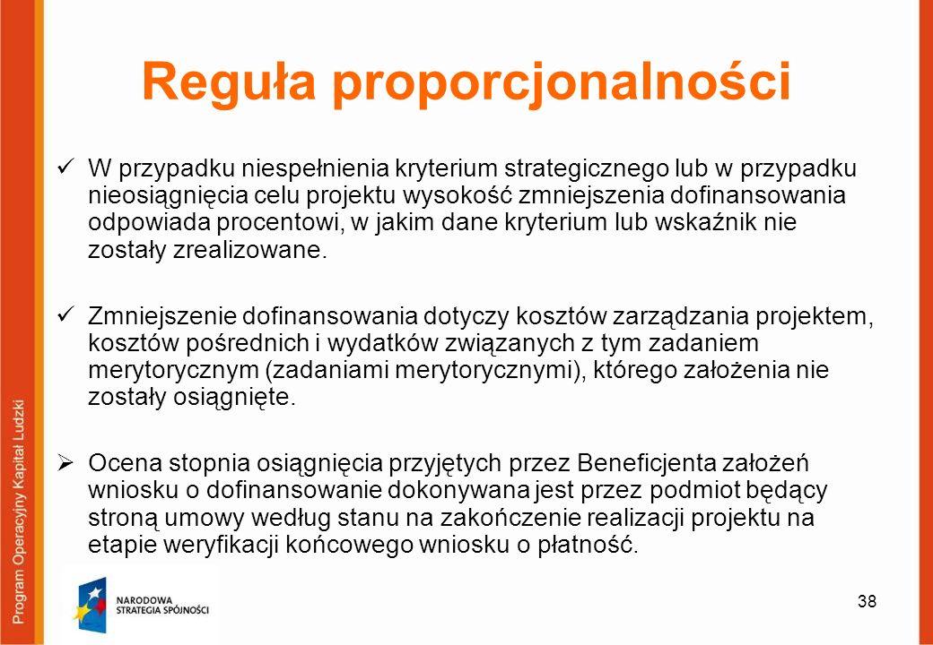 38 Reguła proporcjonalności W przypadku niespełnienia kryterium strategicznego lub w przypadku nieosiągnięcia celu projektu wysokość zmniejszenia dofi