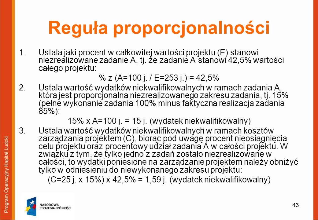 43 Reguła proporcjonalności 1.Ustala jaki procent w całkowitej wartości projektu (E) stanowi niezrealizowane zadanie A, tj. że zadanie A stanowi 42,5%