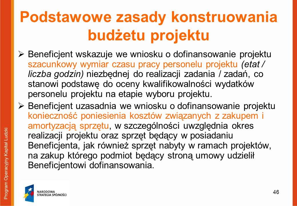 46 Podstawowe zasady konstruowania budżetu projektu Beneficjent wskazuje we wniosku o dofinansowanie projektu szacunkowy wymiar czasu pracy personelu