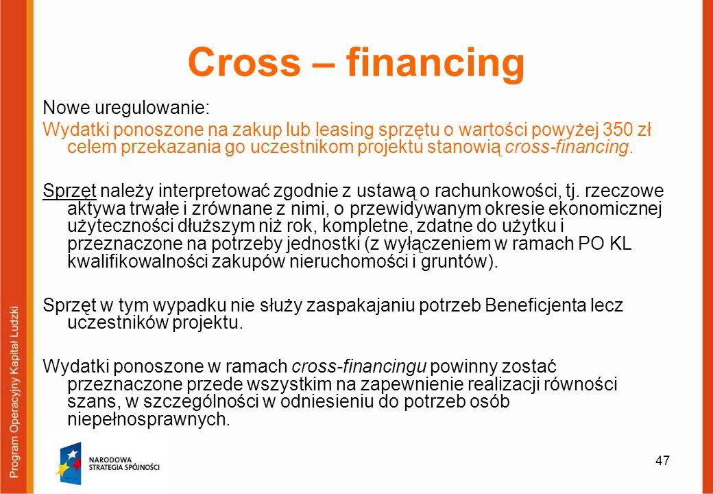 47 Cross – financing Nowe uregulowanie: Wydatki ponoszone na zakup lub leasing sprzętu o wartości powyżej 350 zł celem przekazania go uczestnikom proj