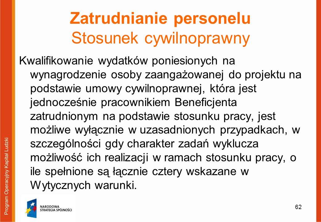 62 Zatrudnianie personelu Stosunek cywilnoprawny Kwalifikowanie wydatków poniesionych na wynagrodzenie osoby zaangażowanej do projektu na podstawie um