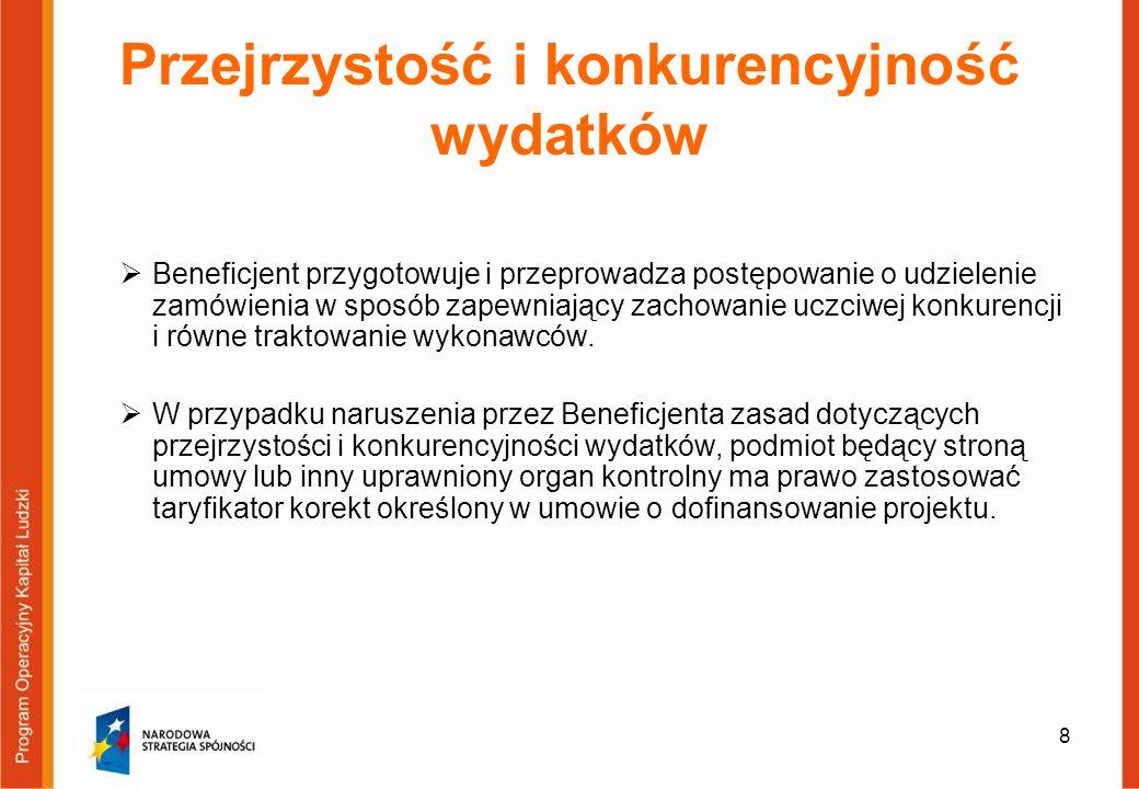 59 Zatrudnianie personelu Stosunek pracy Przykład: W budżecie projektu zaplanowano wydatki m.