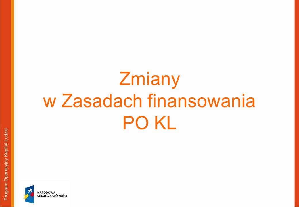 Zmiany w Zasadach finansowania PO KL