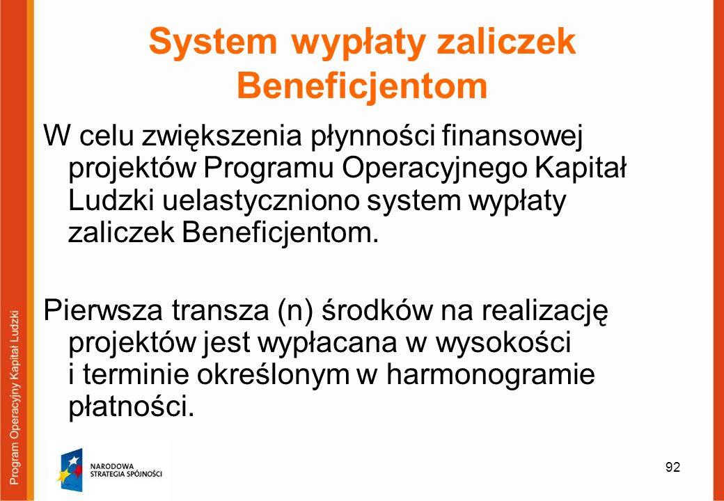 92 System wypłaty zaliczek Beneficjentom W celu zwiększenia płynności finansowej projektów Programu Operacyjnego Kapitał Ludzki uelastyczniono system