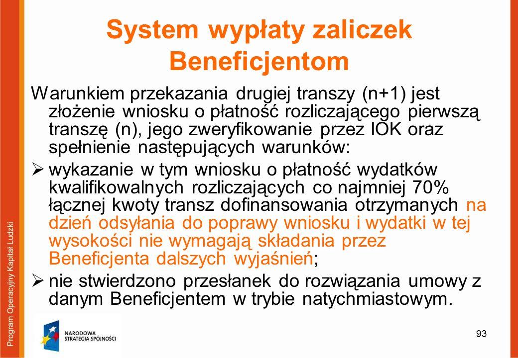 93 System wypłaty zaliczek Beneficjentom Warunkiem przekazania drugiej transzy (n+1) jest złożenie wniosku o płatność rozliczającego pierwszą transzę