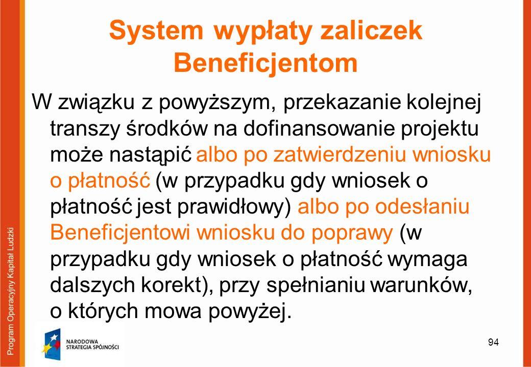 94 System wypłaty zaliczek Beneficjentom W związku z powyższym, przekazanie kolejnej transzy środków na dofinansowanie projektu może nastąpić albo po