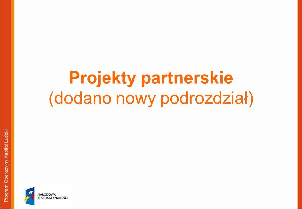 Projekty partnerskie (dodano nowy podrozdział)