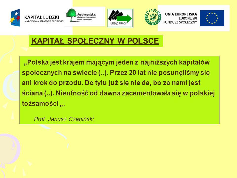 Polska jest krajem mającym jeden z najniższych kapitałów społecznych na świecie (..).