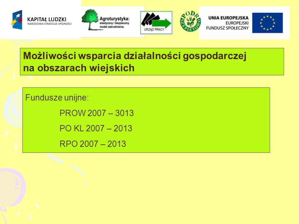 Możliwości wsparcia działalności gospodarczej na obszarach wiejskich Fundusze unijne: PROW 2007 – 3013 PO KL 2007 – 2013 RPO 2007 – 2013